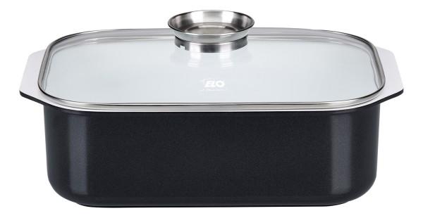 ELO Pure Blanco - Rechteckbräter mit Grilleinsatz und Glasdeckel mit Aromaknopf